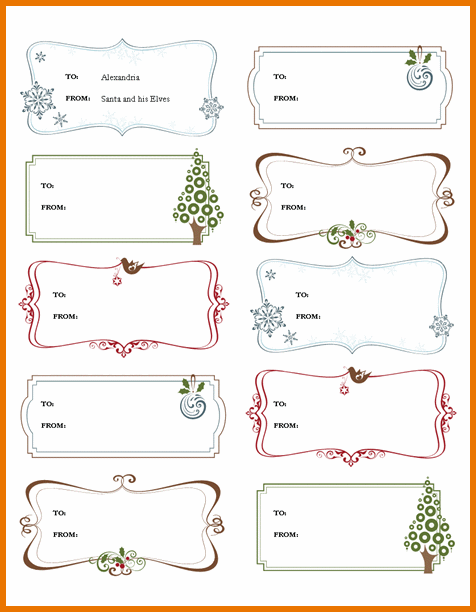 word template for labels