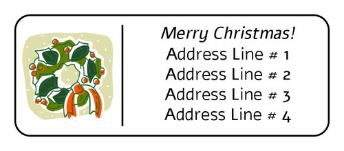 Christmas Return Address Labels Template Wreath Label