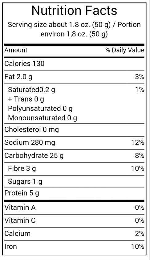 ciabatta bread nutrition label