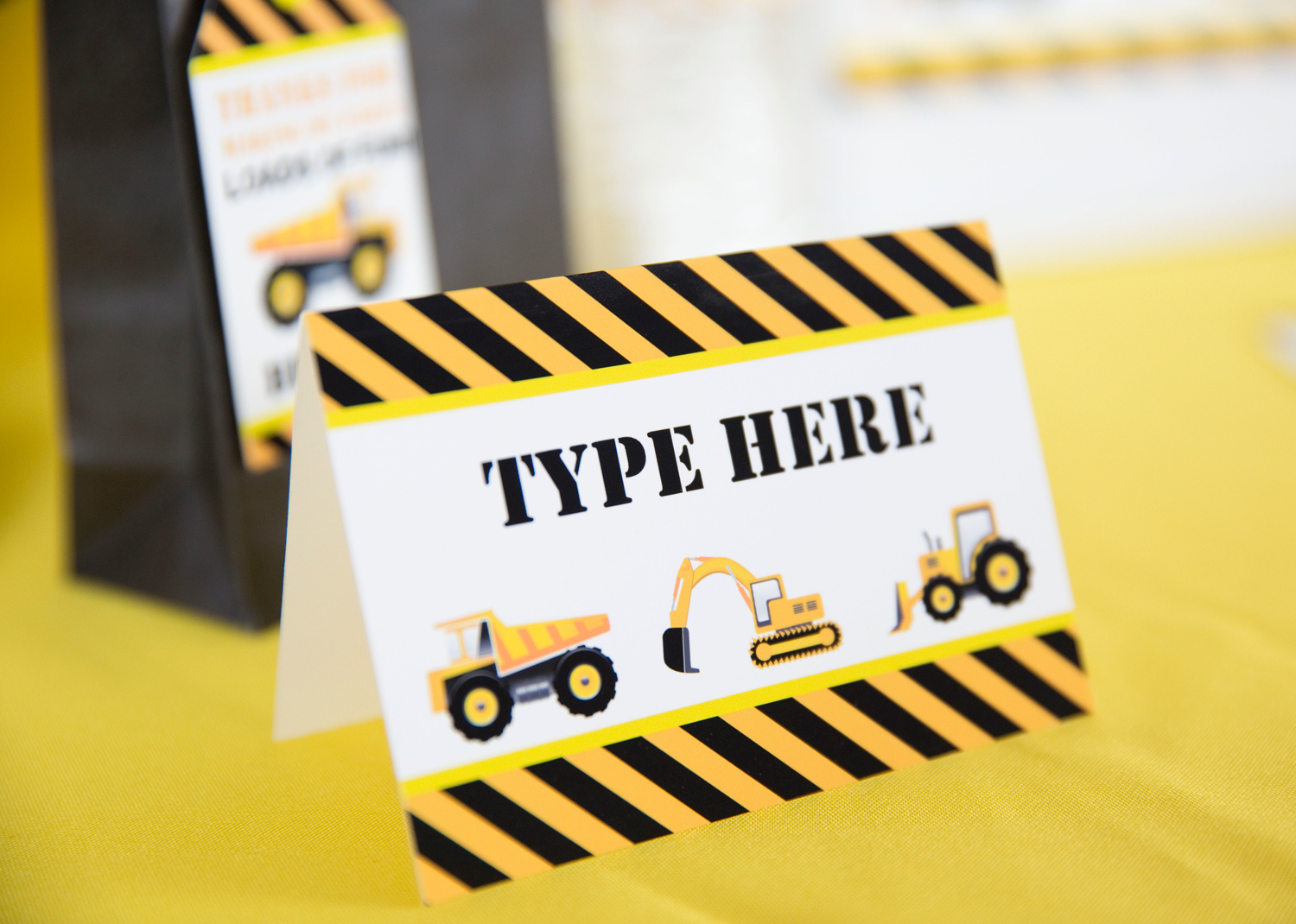 free printable construction party food labels construction