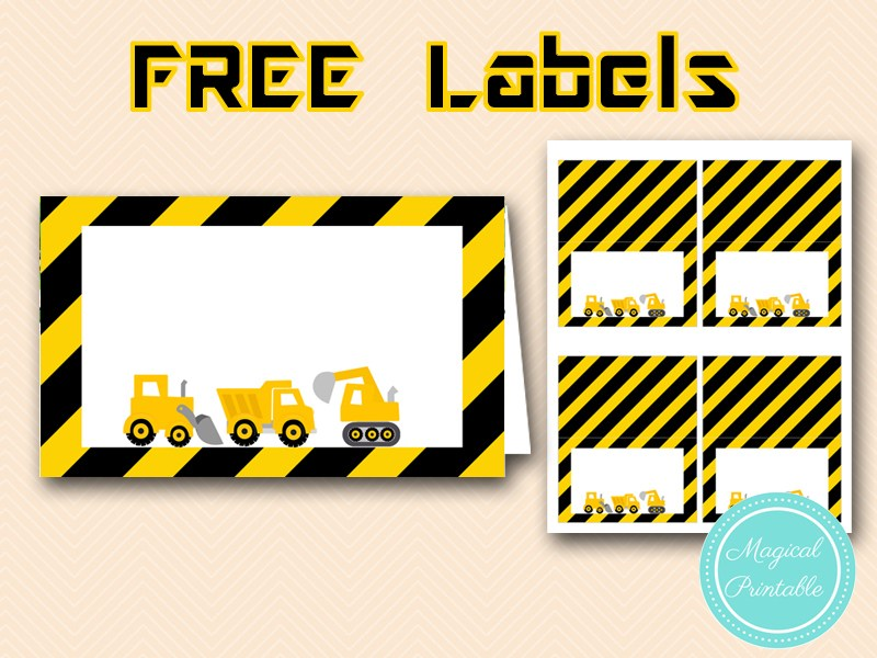 photograph relating to Free Printable Construction Party Signs identified as cost-free printable structure celebration foodstuff labels structure