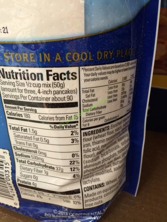 krusteaz pancake mix nutrition label