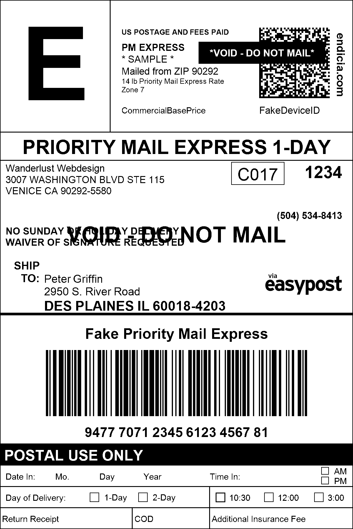 It is a graphic of Declarative Print Shipping Label Free