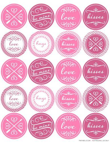 Printable Circle Labels Template Round Valentines Day Themed Label Design
