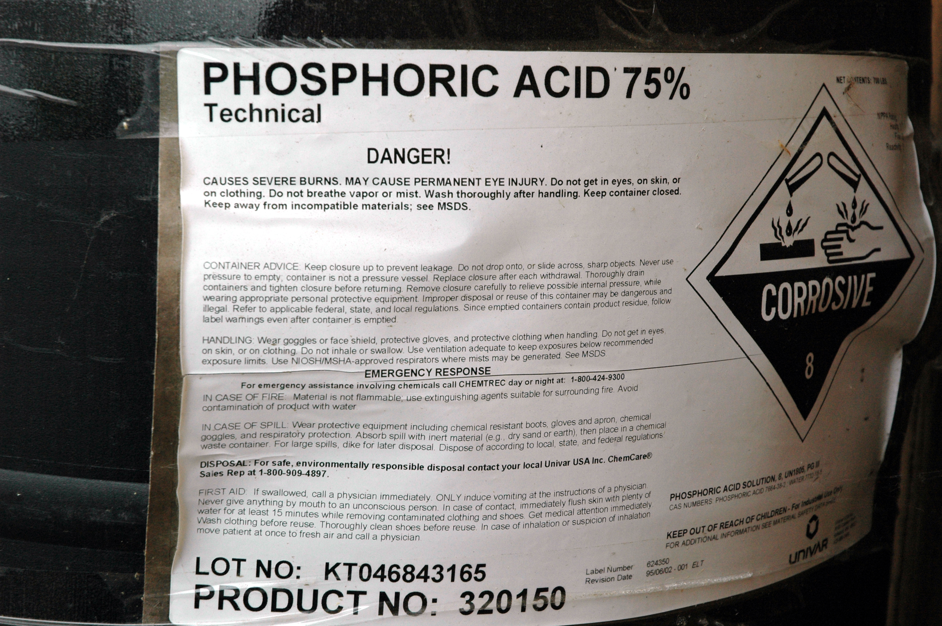 Phosphoric Acid Label Top Label Maker