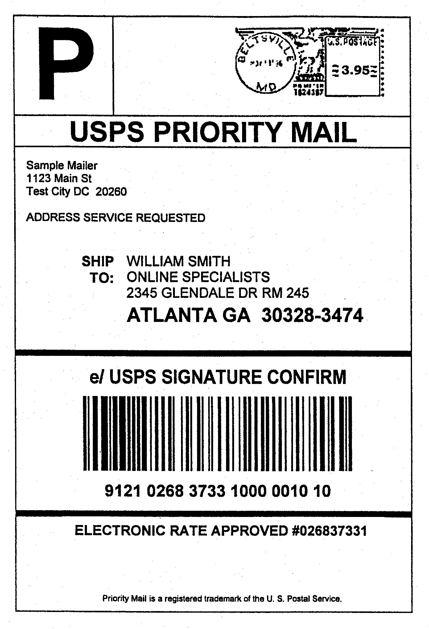This is a graphic of Nerdy Priority Mail Express Mailing Label
