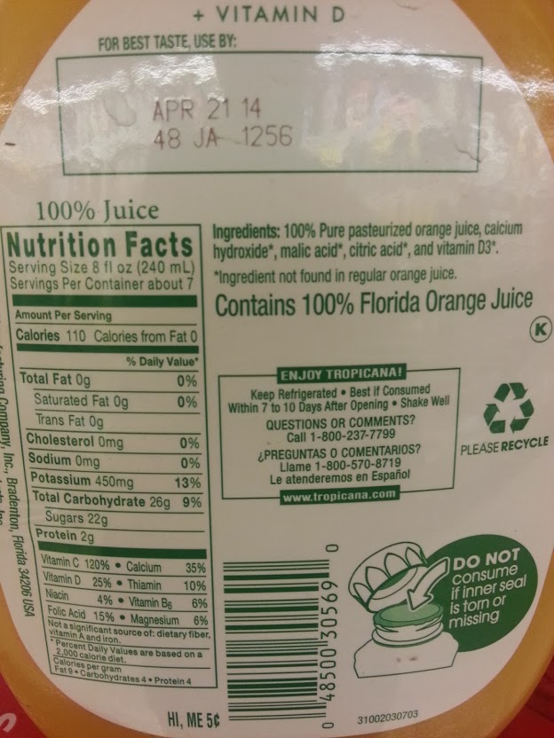Tropicana Orange Juice Nutrition Label