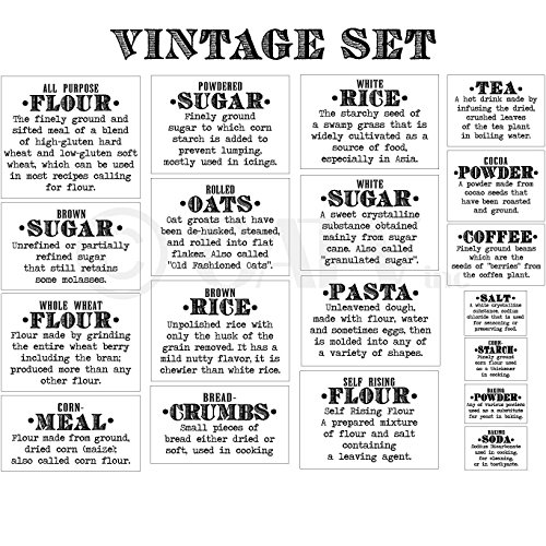 vinyl canister labels basics definition vintage font flour sugar